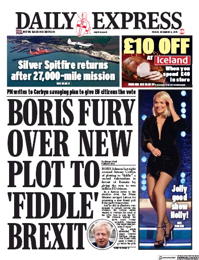 Daily Express Newspaper Front Page (UK) for 6 December 2019