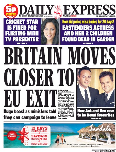 Daily Express () Newspaper Front Page for 6 January 2016