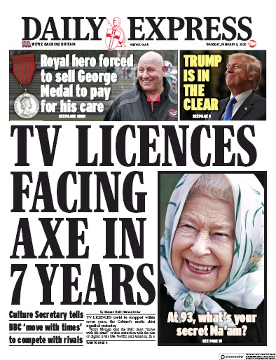 Daily Express Newspaper Front Page (UK) for 6 February 2020