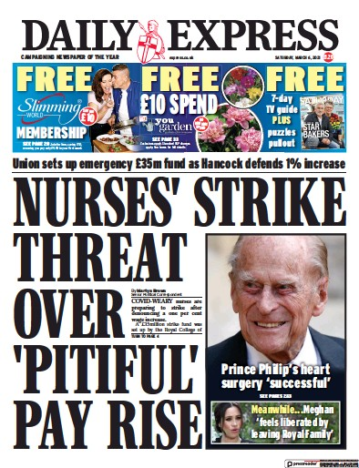 Daily Express Newspaper Front Page (UK) for 6 March 2021