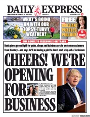 Daily Express (UK) Newspaper Front Page for 6 April 2021