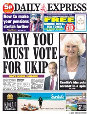 Daily Express (UK) Newspaper Front Page for 6 May 2015