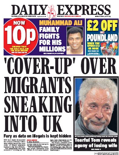 Daily Express (UK) Front Page for 6 June 2016 | Paperboy ... Daily Express