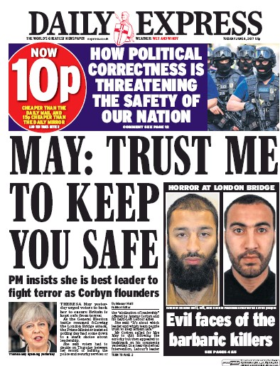 Daily Express Newspaper Front Page (UK) for 6 June 2017