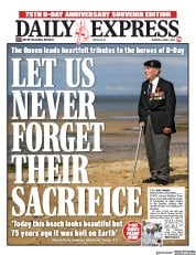 Daily Express (UK) Newspaper Front Page for 6 June 2019