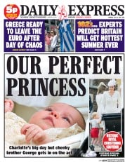 Daily Express (UK) Newspaper Front Page for 6 July 2015
