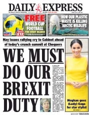 Daily Express (UK) Newspaper Front Page for 6 July 2018