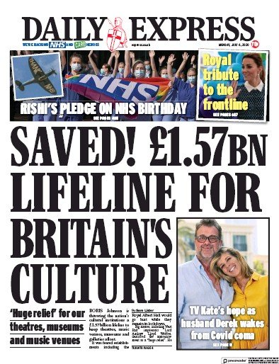 Daily Express Newspaper Front Page (UK) for 6 July 2020