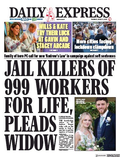 Daily Express Newspaper Front Page (UK) for 6 August 2020