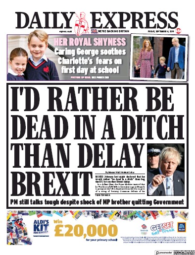 Daily Express Newspaper Front Page (UK) for 6 September 2019