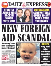 Daily Express (UK) Newspaper Front Page for 7 November 2017