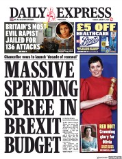 Daily Express (UK) Newspaper Front Page for 7 January 2020