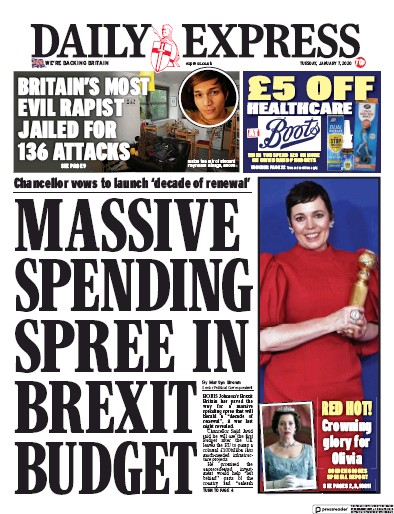 Daily Express Newspaper Front Page (UK) for 7 January 2020