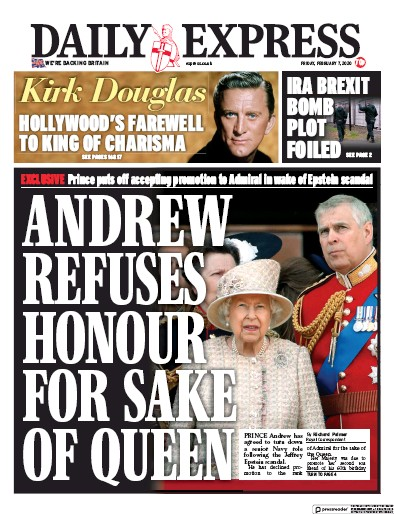 Daily Express Newspaper Front Page (UK) for 7 February 2020