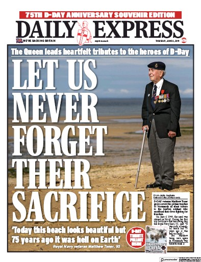 Daily Express Newspaper Front Page (UK) for 7 June 2019