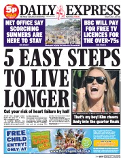 Daily Express (UK) Newspaper Front Page for 7 July 2015