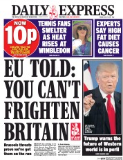 Daily Express (UK) Newspaper Front Page for 7 July 2017