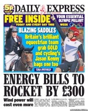Daily Express Newspaper Front Page (UK) for 7 August 2012