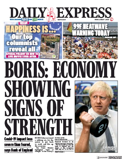 Daily Express Newspaper Front Page (UK) for 7 August 2020