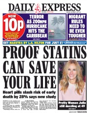 Daily Express (UK) Newspaper Front Page for 7 September 2017