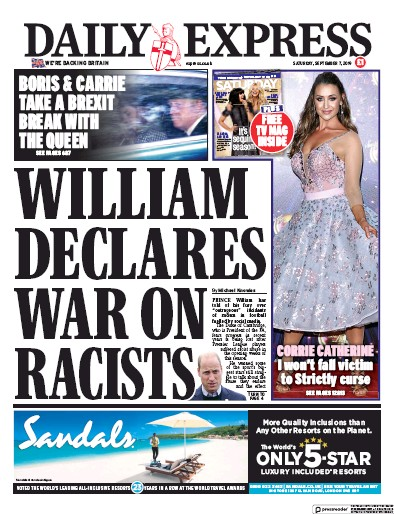 Daily Express Newspaper Front Page (UK) for 7 September 2019