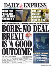 Daily Express (UK) Newspaper Front Page for 7 September 2020