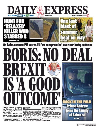 Daily Express Newspaper Front Page (UK) for 7 September 2020