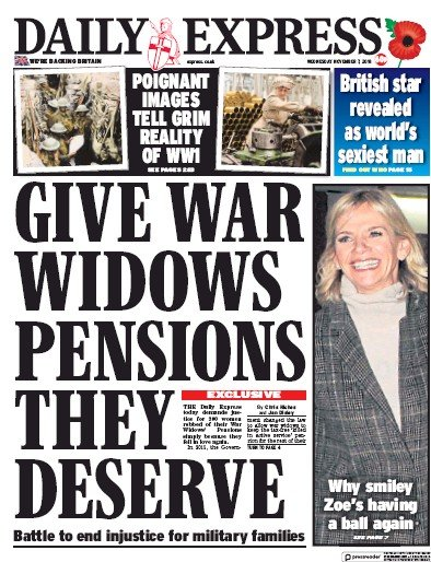 Daily Express Newspaper Front Page (UK) for 8 November 2018