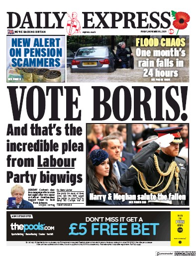 Daily Express Newspaper Front Page (UK) for 8 November 2019