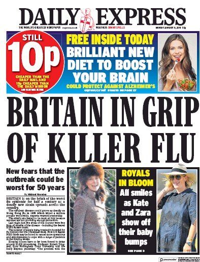 Daily Express Newspaper Front Page (UK) for 8 January 2018