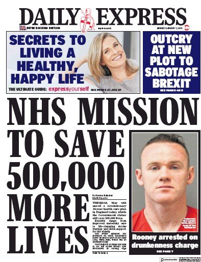 Daily Express Newspaper Front Page (UK) for 8 January 2019