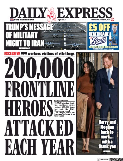 Daily Express Newspaper Front Page (UK) for 8 January 2020