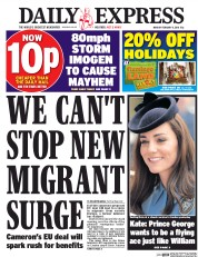Daily Express (UK) Newspaper Front Page for 8 February 2016