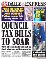 Daily Express (UK) Newspaper Front Page for 8 February 2018