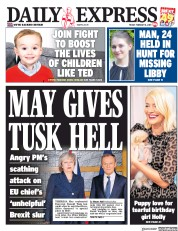 Daily Express () Newspaper Front Page for 8 February 2019