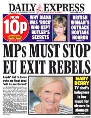 Daily Express (UK) Newspaper Front Page for 8 March 2017
