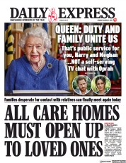 Daily Express front page for 8 March 2021