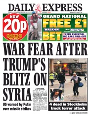 Daily Express (UK) Newspaper Front Page for 8 April 2017