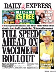 Daily Express () Newspaper Front Page for 8 April 2021