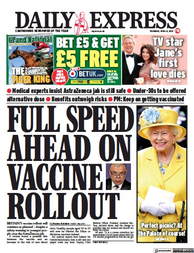 Daily Express Newspaper Front Page (UK) for 8 April 2021