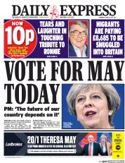 Daily Express (UK) Newspaper Front Page for 8 June 2017