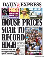 Daily Express front page for 8 August 2020
