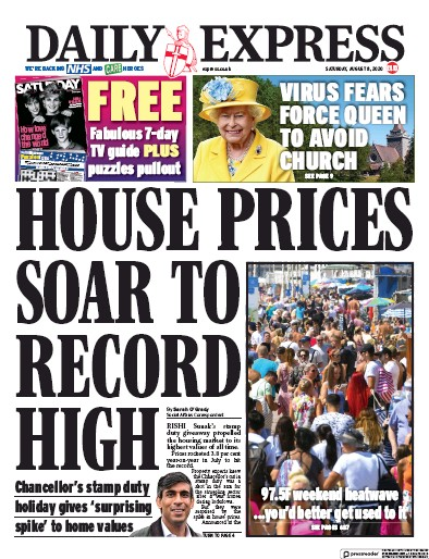 Daily Express Newspaper Front Page (UK) for 8 August 2020