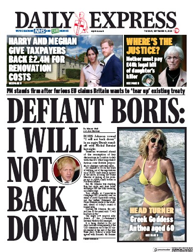Daily Express Newspaper Front Page (UK) for 8 September 2020
