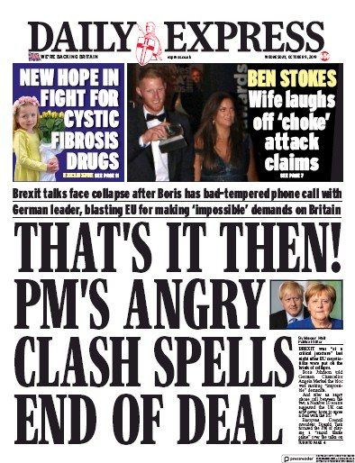 Daily Express Newspaper Front Page (UK) for 9 October 2019