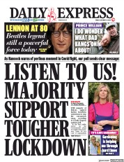 Daily Express front page for 9 October 2020