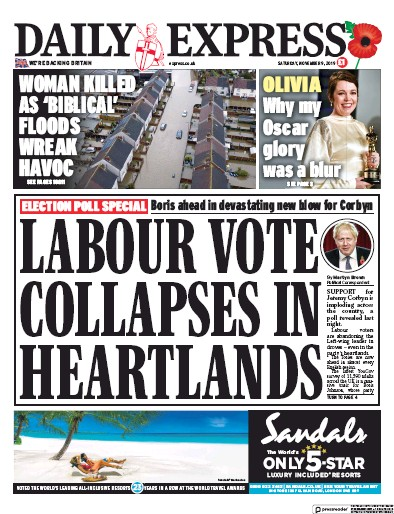 Daily Express Newspaper Front Page (UK) for 9 November 2019