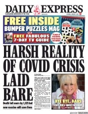 Daily Express front page for 9 January 2021