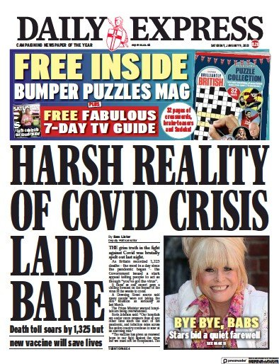 Daily Express Newspaper Front Page (UK) for 9 January 2021