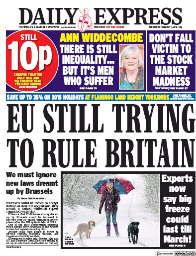 Daily Express Newspaper Front Page (UK) for 9 February 2018